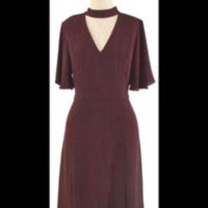 Ann Taylor Burgundy Keyhole Midi Dress Sz 12p